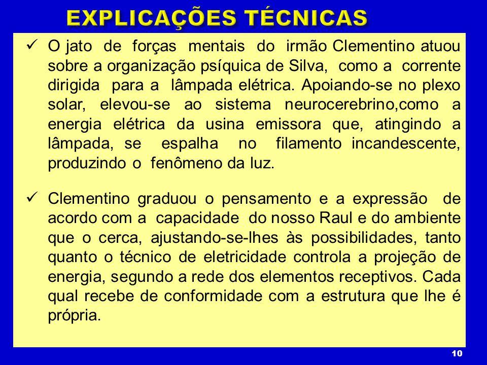 O jato de forças mentais do irmão Clementino atuou sobre a organização psíquica de Silva, como a corrente dirigida para a lâmpada elétrica. Apoiando-s