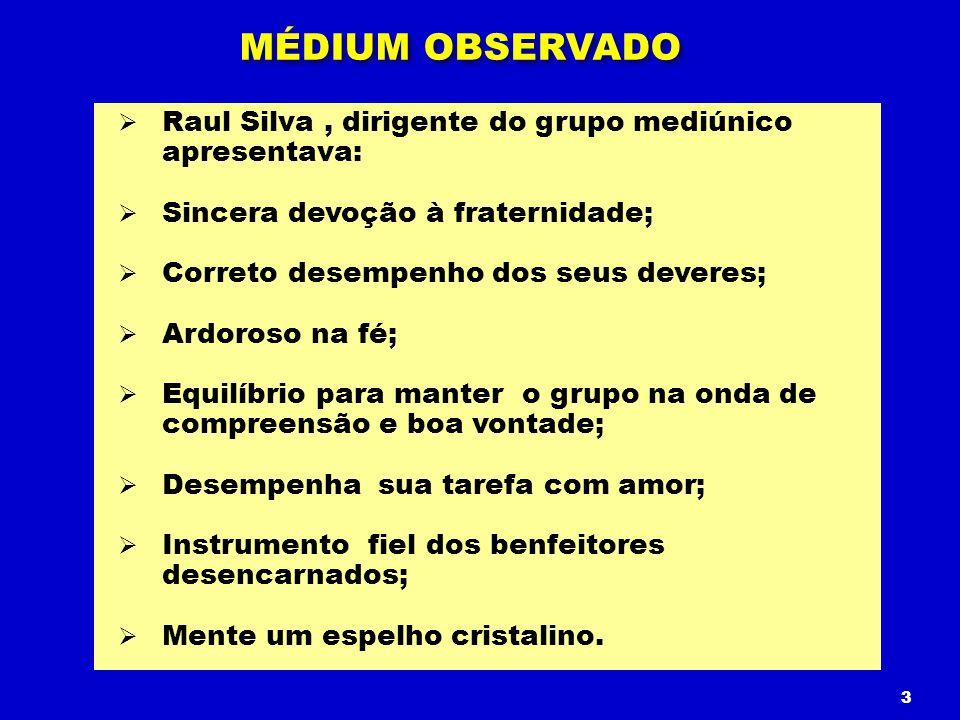 Raul Silva, dirigente do grupo mediúnico apresentava: Sincera devoção à fraternidade; Correto desempenho dos seus deveres; Ardoroso na fé; Equilíbrio