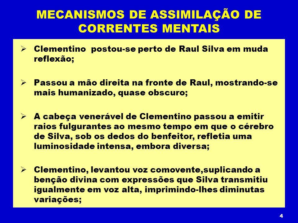 Clementino postou-se perto de Raul Silva em muda reflexão; Passou a mão direita na fronte de Raul, mostrando-se mais humanizado, quase obscuro; A cabe
