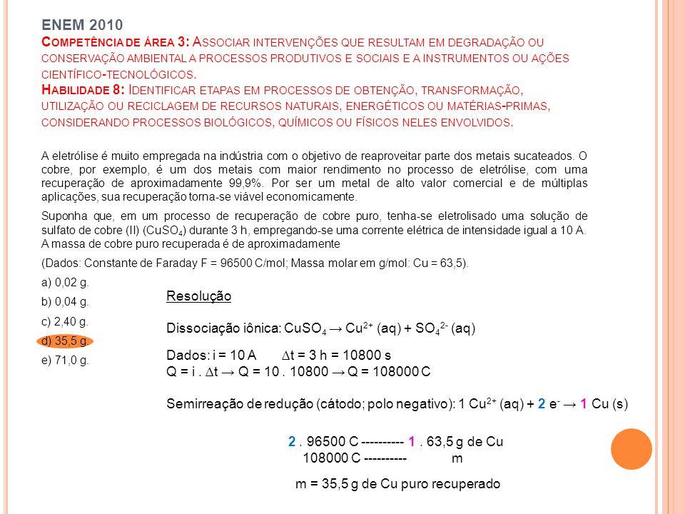 ENEM 2010 C OMPETÊNCIA DE ÁREA 3: A SSOCIAR INTERVENÇÕES QUE RESULTAM EM DEGRADAÇÃO OU CONSERVAÇÃO AMBIENTAL A PROCESSOS PRODUTIVOS E SOCIAIS E A INSTRUMENTOS OU AÇÕES CIENTÍFICO - TECNOLÓGICOS.