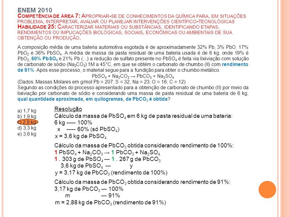 A composição média de uma bateria automotiva esgotada é de aproximadamente 32% Pb, 3% PbO, 17% PbO 2 e 36% PbSO 4.