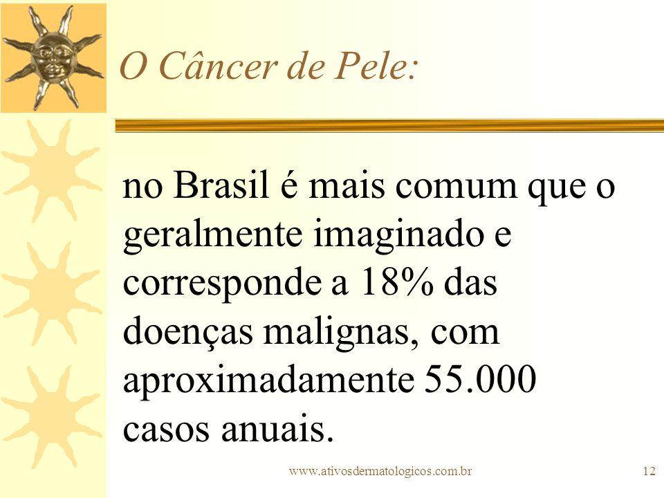 www.ativosdermatologicos.com.br12 O Câncer de Pele: no Brasil é mais comum que o geralmente imaginado e corresponde a 18% das doenças malignas, com ap