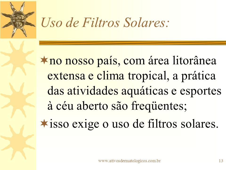www.ativosdermatologicos.com.br13 Uso de Filtros Solares: no nosso país, com área litorânea extensa e clima tropical, a prática das atividades aquátic