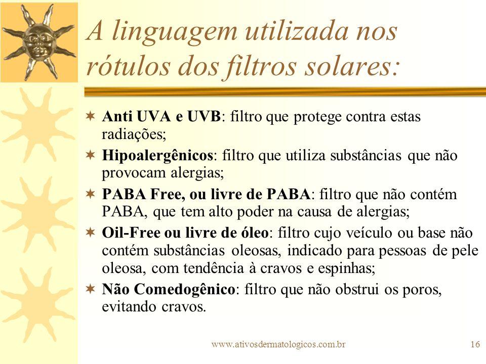 www.ativosdermatologicos.com.br16 A linguagem utilizada nos rótulos dos filtros solares: Anti UVA e UVB: filtro que protege contra estas radiações; Hi