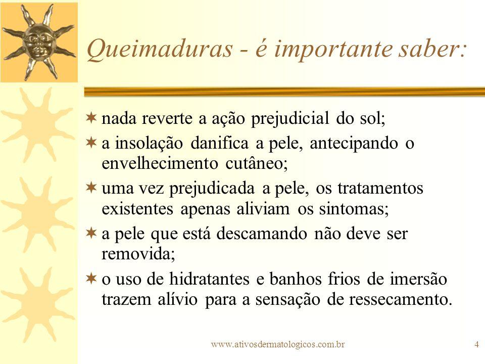 www.ativosdermatologicos.com.br4 Queimaduras - é importante saber: nada reverte a ação prejudicial do sol; a insolação danifica a pele, antecipando o