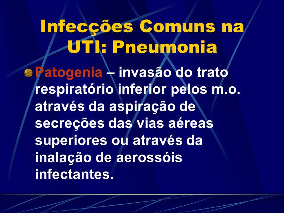 Infecções Comuns na UTI: Pneumonia Patogenia – invasão do trato respiratório inferior pelos m.o. através da aspiração de secreções das vias aéreas sup