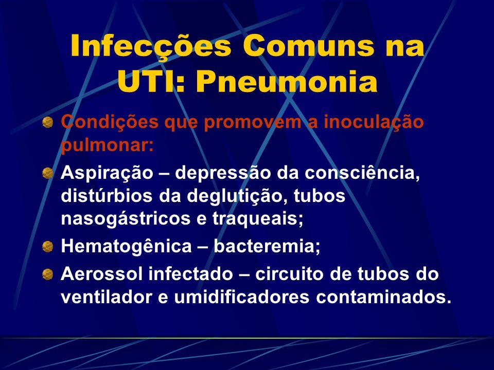 Infecções Comuns na UTI: Pneumonia Condições que promovem a inoculação pulmonar: Aspiração – depressão da consciência, distúrbios da deglutição, tubos