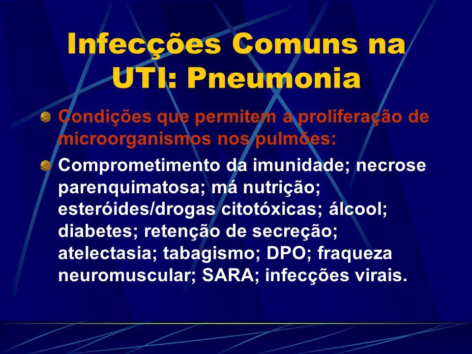 Infecções Comuns na UTI: Pneumonia Condições que permitem a proliferação de microorganismos nos pulmões: Comprometimento da imunidade; necrose parenqu