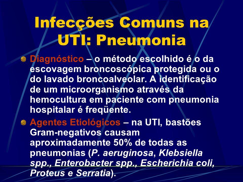 Infecções Comuns na UTI: Pneumonia Diagnóstico – o método escolhido é o da escovagem broncoscópica protegida ou o do lavado broncoalveolar. A identifi