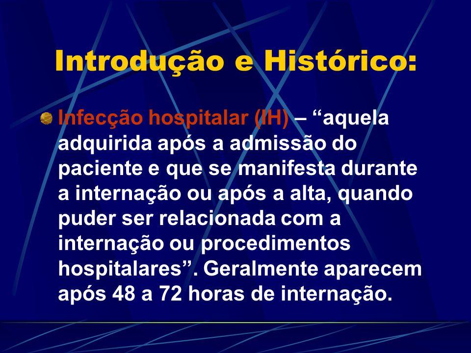 Introdução e Histórico: Infecção hospitalar (IH) – aquela adquirida após a admissão do paciente e que se manifesta durante a internação ou após a alta