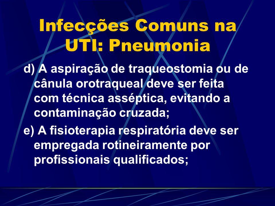 Infecções Comuns na UTI: Pneumonia d) A aspiração de traqueostomia ou de cânula orotraqueal deve ser feita com técnica asséptica, evitando a contamina