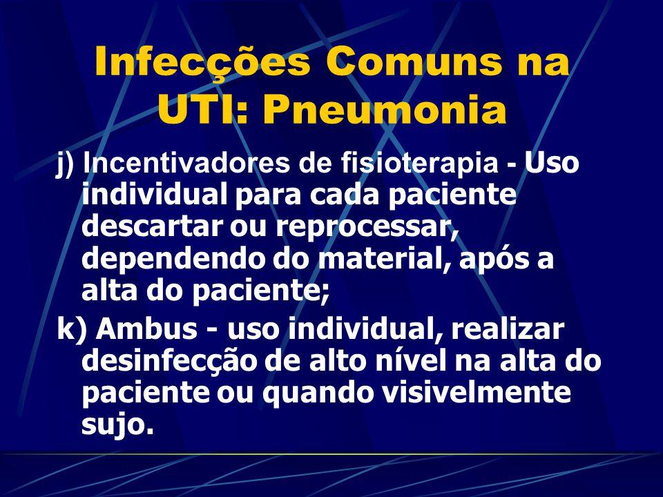 Infecções Comuns na UTI: Pneumonia j) Incentivadores de fisioterapia - Uso individual para cada paciente descartar ou reprocessar, dependendo do mater