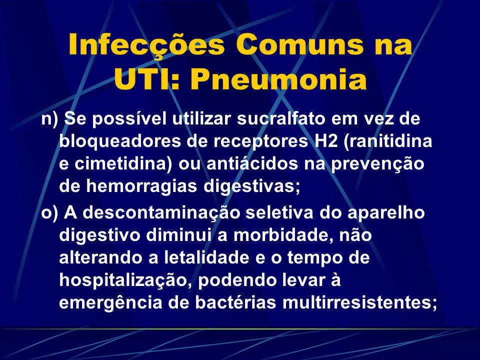 Infecções Comuns na UTI: Pneumonia n) Se possível utilizar sucralfato em vez de bloqueadores de receptores H2 (ranitidina e cimetidina) ou antiácidos