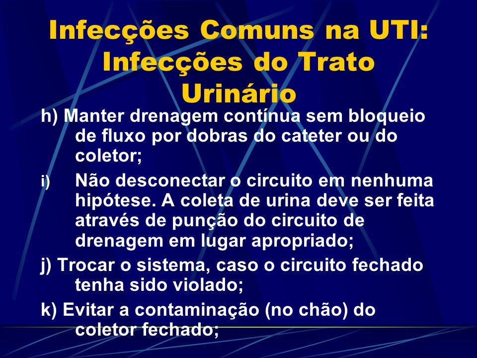 Infecções Comuns na UTI: Infecções do Trato Urinário h) Manter drenagem contínua sem bloqueio de fluxo por dobras do cateter ou do coletor; i) Não des