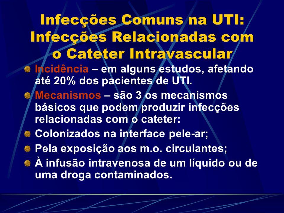 Infecções Comuns na UTI: Infecções Relacionadas com o Cateter Intravascular Incidência – em alguns estudos, afetando até 20% dos pacientes de UTI. Mec