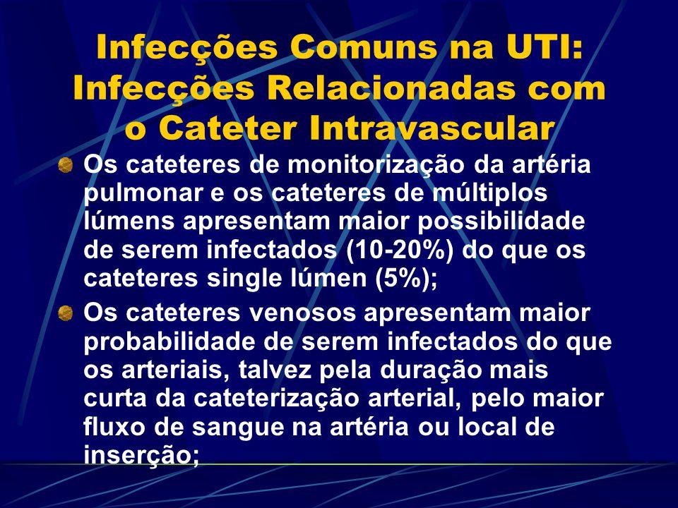 Infecções Comuns na UTI: Infecções Relacionadas com o Cateter Intravascular Os cateteres de monitorização da artéria pulmonar e os cateteres de múltip