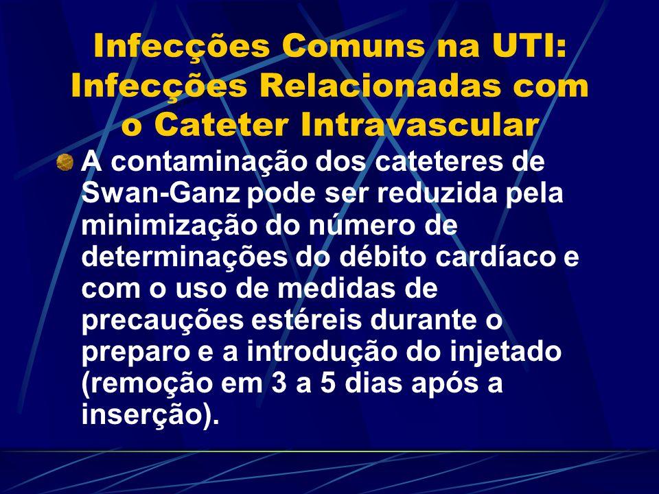 Infecções Comuns na UTI: Infecções Relacionadas com o Cateter Intravascular A contaminação dos cateteres de Swan-Ganz pode ser reduzida pela minimizaç