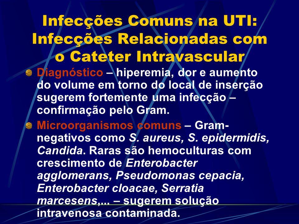 Infecções Comuns na UTI: Infecções Relacionadas com o Cateter Intravascular Diagnóstico – hiperemia, dor e aumento do volume em torno do local de inse