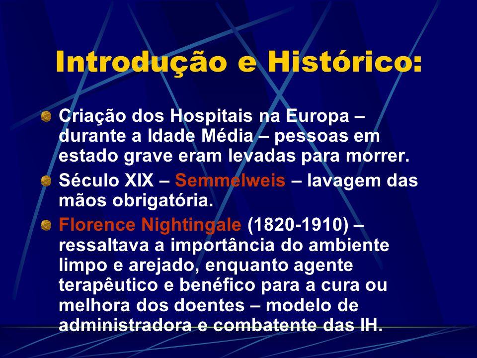 Introdução e Histórico: Década de 30 – introdução de agentes microbianos – cirurgias cada vez mais elaboradas e tipos de infecções hospitalares mudam em conseqüência do avanço da medicina.