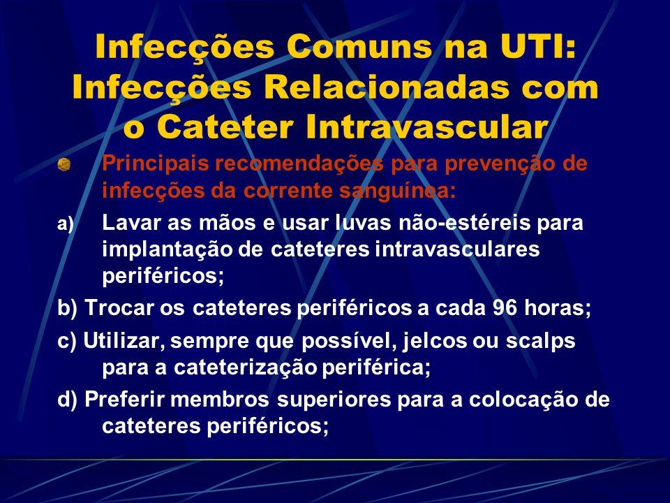 Infecções Comuns na UTI: Infecções Relacionadas com o Cateter Intravascular Principais recomendações para prevenção de infecções da corrente sanguínea