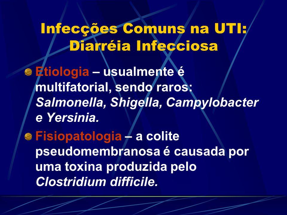 Infecções Comuns na UTI: Diarréia Infecciosa Etiologia – usualmente é multifatorial, sendo raros: Salmonella, Shigella, Campylobacter e Yersinia. Fisi