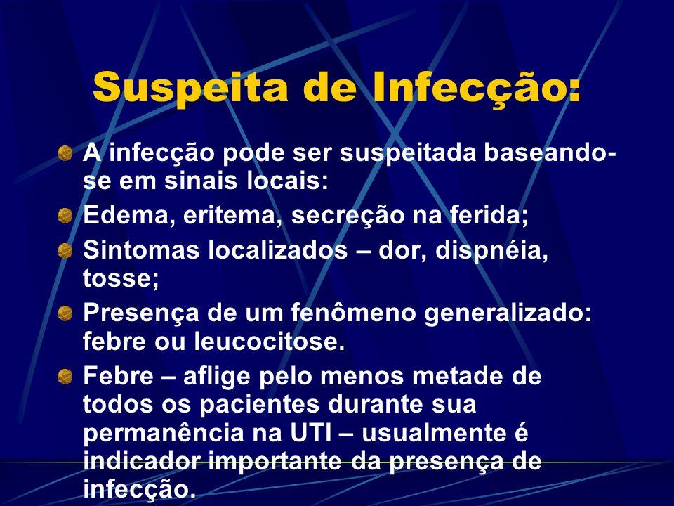 Quadros Comuns: Três categorias são responsáveis pela maioria das infecções observadas na UTI: Infecções bacterianas primárias que acarretam a internação (meningite, pneumonia, ITU); Infecções hospitalares (sepse relacionada ao cateter, pneumonia nosocomial); Infecções do paciente imunocomprometido.