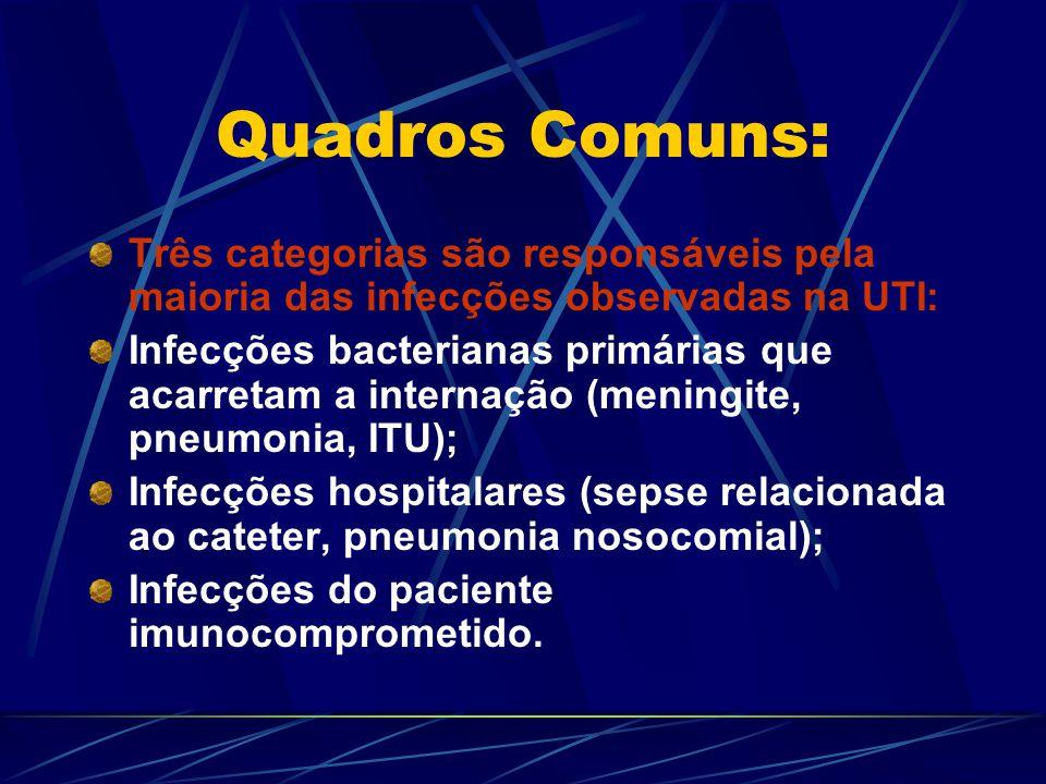 Infecções Comuns na UTI: Infecções Relacionadas com o Cateter Intravascular Principais recomendações para prevenção de infecções da corrente sanguínea: a) Lavar as mãos e usar luvas não-estéreis para implantação de cateteres intravasculares periféricos; b) Trocar os cateteres periféricos a cada 96 horas; c) Utilizar, sempre que possível, jelcos ou scalps para a cateterização periférica; d) Preferir membros superiores para a colocação de cateteres periféricos;