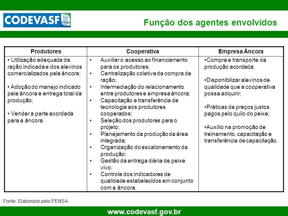 11 www.codevasf.gov.br Função dos agentes envolvidos ProdutoresCooperativaEmpresa Âncora Utilização adequada da ração indicada e dos alevinos comercia