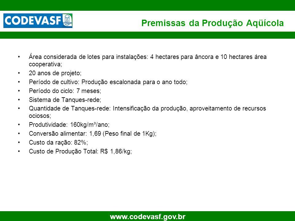 12 www.codevasf.gov.br Premissas da Produção Aqüícola Área considerada de lotes para instalações: 4 hectares para âncora e 10 hectares área cooperativ
