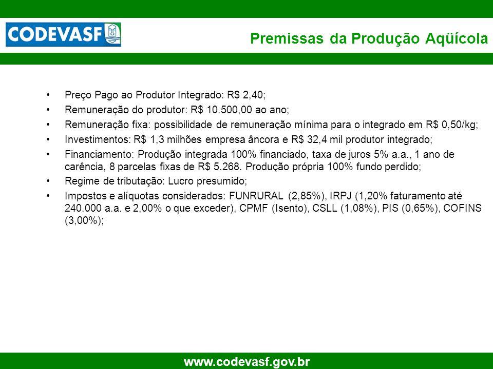 13 www.codevasf.gov.br Premissas da Produção Aqüícola Preço Pago ao Produtor Integrado: R$ 2,40; Remuneração do produtor: R$ 10.500,00 ao ano; Remuner