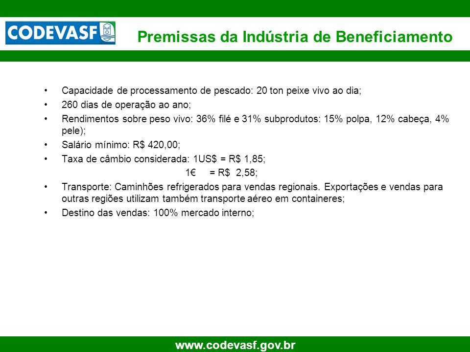 14 www.codevasf.gov.br Capacidade de processamento de pescado: 20 ton peixe vivo ao dia; 260 dias de operação ao ano; Rendimentos sobre peso vivo: 36%