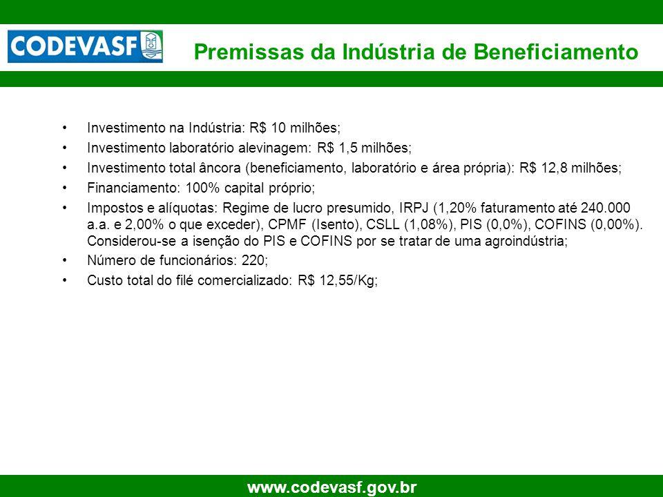 15 www.codevasf.gov.br Investimento na Indústria: R$ 10 milhões; Investimento laboratório alevinagem: R$ 1,5 milhões; Investimento total âncora (benef