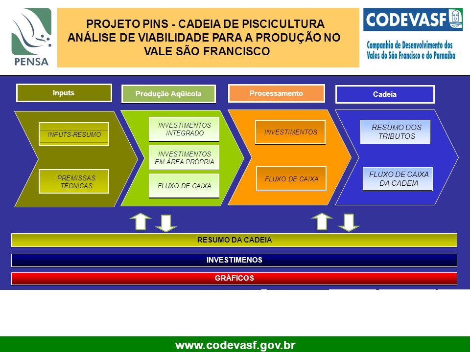 16 www.codevasf.gov.br Produção Aqüícola Inputs PROJETO PINS - CADEIA DE PISCICULTURA ANÁLISE DE VIABILIDADE PARA A PRODUÇÃO NO VALE SÃO FRANCISCO Pro