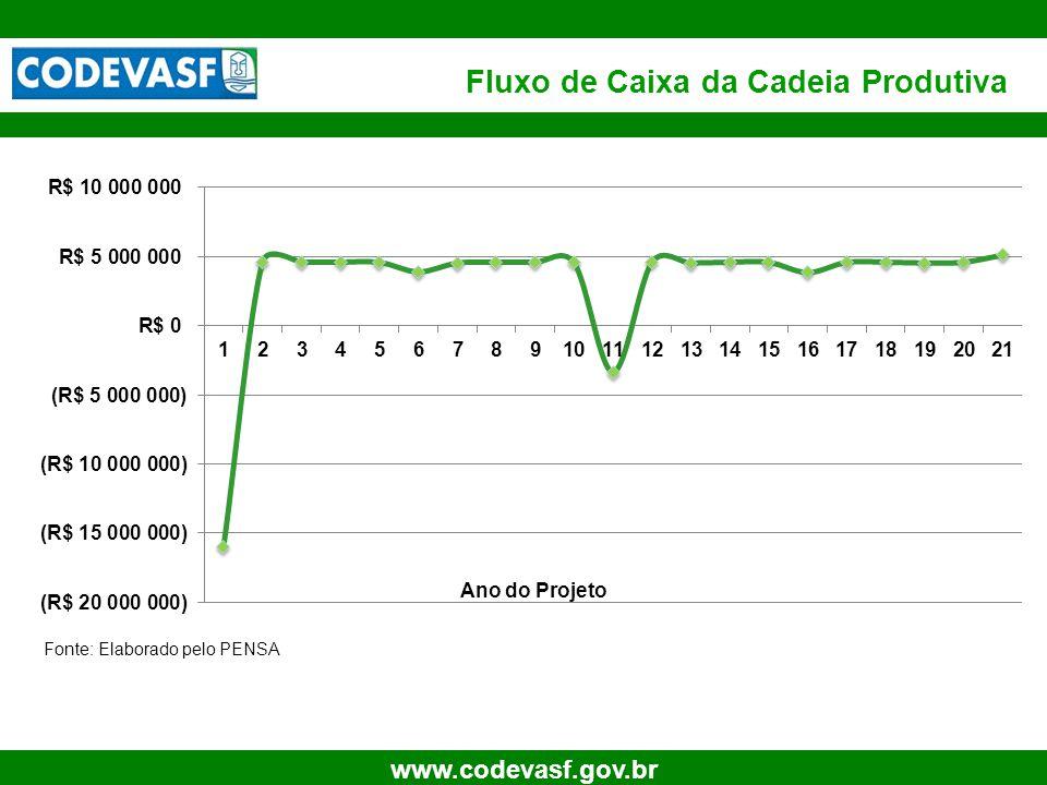 24 www.codevasf.gov.br Fluxo de Caixa da Cadeia Produtiva Ano do Projeto Fonte: Elaborado pelo PENSA