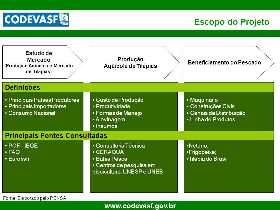 5 www.codevasf.gov.br Escopo do Projeto Beneficiamento do Pescado Produção Aqüícola de Tilápias Estudo de Mercado (Produção Aqüícola e Mercado de Tilá