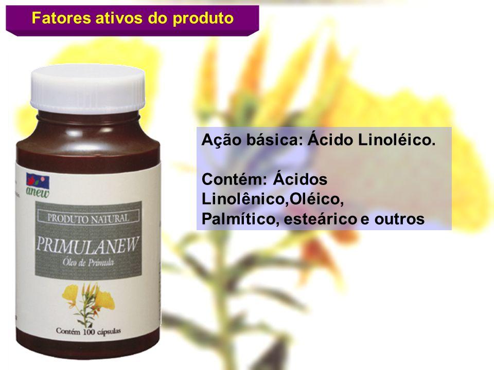 Fatores ativos do produto Ação básica: Ácido Linoléico. Contém: Ácidos Linolênico,Oléico, Palmítico, esteárico e outros
