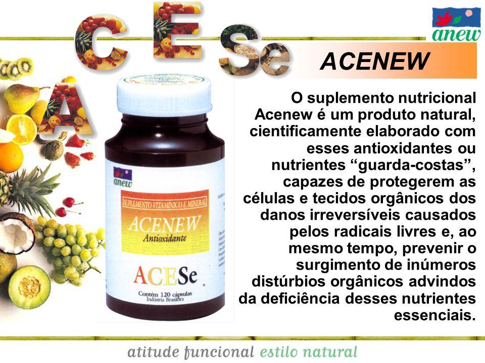 ACENEW O suplemento nutricional Acenew é um produto natural, cientificamente elaborado com esses antioxidantes ou nutrientes guarda-costas, capazes de