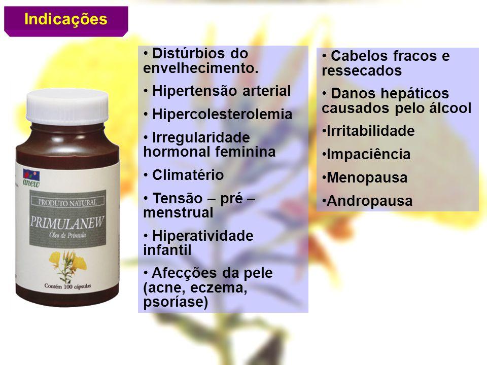 Indicações Distúrbios do envelhecimento. Hipertensão arterial Hipercolesterolemia Irregularidade hormonal feminina Climatério Tensão – pré – menstrual