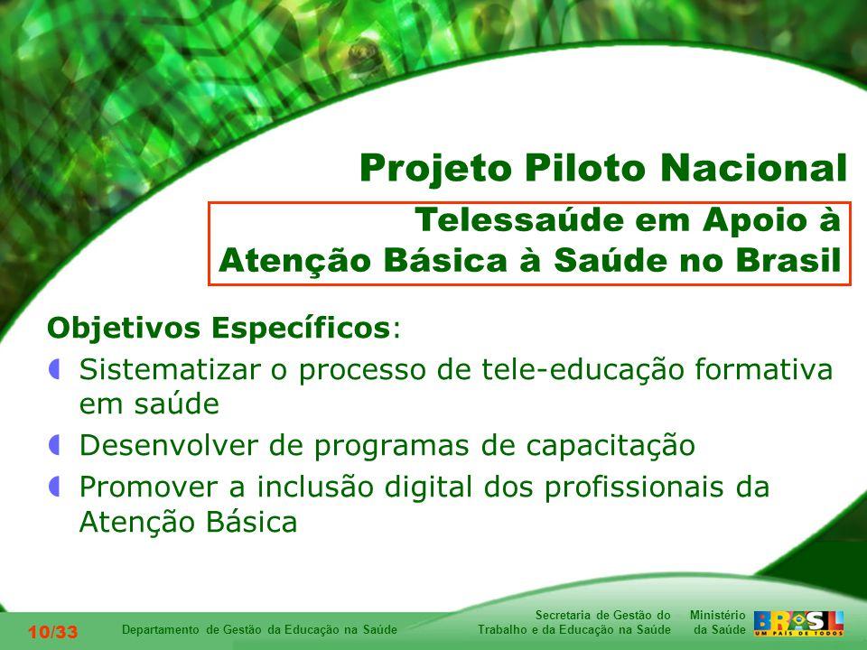 Ministério da Saúde Secretaria de Gestão do Trabalho e da Educação na Saúde Departamento de Gestão da Educação na Saúde 10/33 Objetivos Específicos: Sistematizar o processo de tele-educação formativa em saúde Desenvolver de programas de capacitação Promover a inclusão digital dos profissionais da Atenção Básica Telessaúde em Apoio à Atenção Básica à Saúde no Brasil Projeto Piloto Nacional