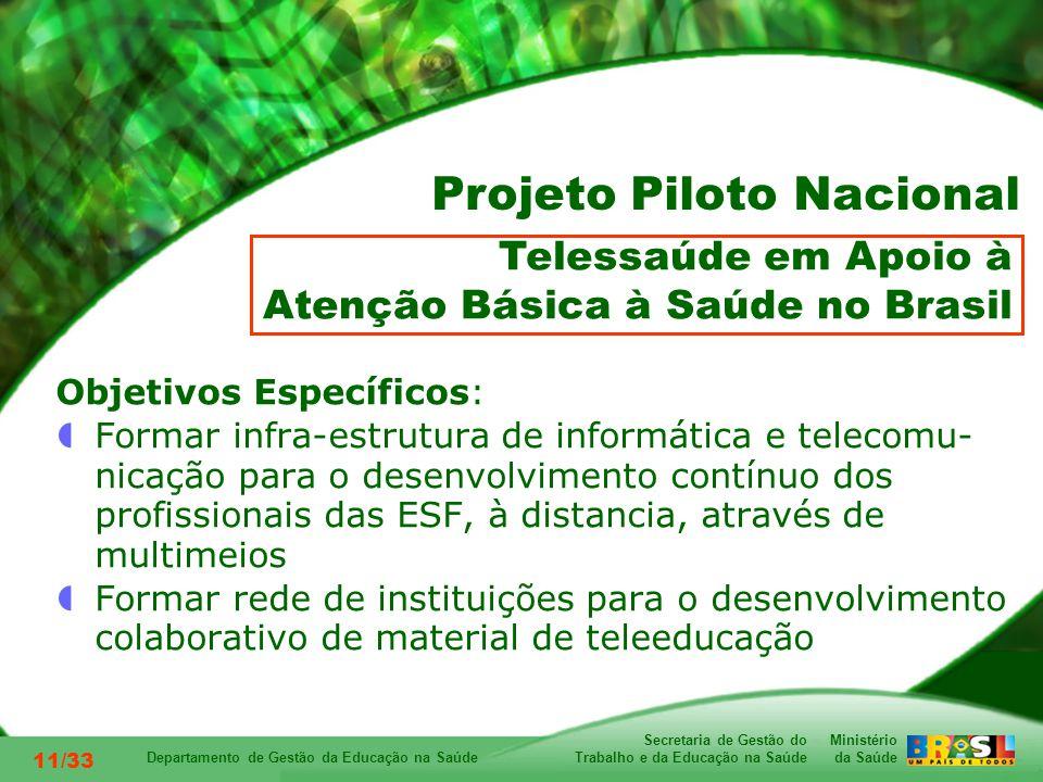 Ministério da Saúde Secretaria de Gestão do Trabalho e da Educação na Saúde Departamento de Gestão da Educação na Saúde 11/33 Objetivos Específicos: Formar infra-estrutura de informática e telecomu- nicação para o desenvolvimento contínuo dos profissionais das ESF, à distancia, através de multimeios Formar rede de instituições para o desenvolvimento colaborativo de material de teleeducação Telessaúde em Apoio à Atenção Básica à Saúde no Brasil Projeto Piloto Nacional