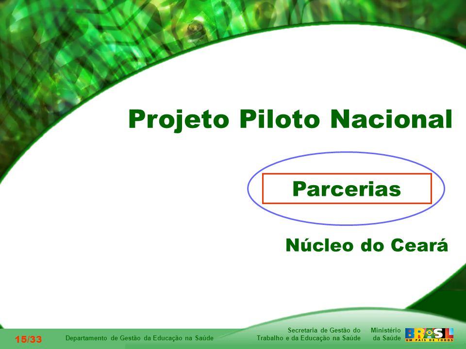 Ministério da Saúde Secretaria de Gestão do Trabalho e da Educação na Saúde Departamento de Gestão da Educação na Saúde 15/33 Parcerias Núcleo do Ceará Projeto Piloto Nacional
