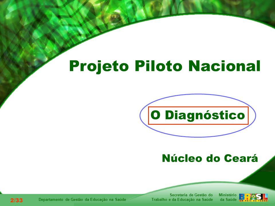 Ministério da Saúde Secretaria de Gestão do Trabalho e da Educação na Saúde Departamento de Gestão da Educação na Saúde 2/33 O Diagnóstico Núcleo do Ceará Projeto Piloto Nacional