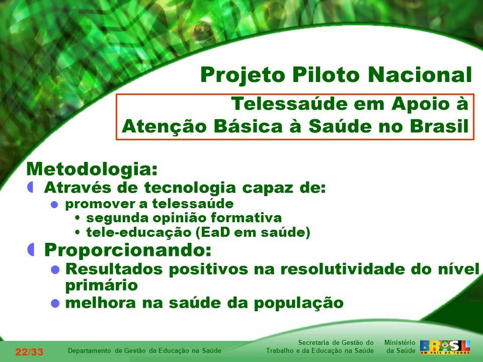 Ministério da Saúde Secretaria de Gestão do Trabalho e da Educação na Saúde Departamento de Gestão da Educação na Saúde 22/33 Metodologia: Através de tecnologia capaz de: promover a telessaúde segunda opinião formativa tele-educação (EaD em saúde) Proporcionando: Resultados positivos na resolutividade do nível primário melhora na saúde da população Telessaúde em Apoio à Atenção Básica à Saúde no Brasil Projeto Piloto Nacional
