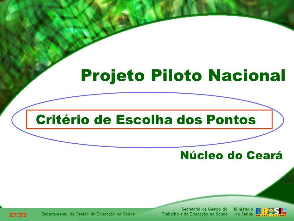 Ministério da Saúde Secretaria de Gestão do Trabalho e da Educação na Saúde Departamento de Gestão da Educação na Saúde 27/33 Critério de Escolha dos Pontos Núcleo do Ceará Projeto Piloto Nacional