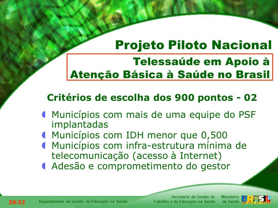 Ministério da Saúde Secretaria de Gestão do Trabalho e da Educação na Saúde Departamento de Gestão da Educação na Saúde 29/33 Critérios de escolha dos 900 pontos - 02 Municípios com mais de uma equipe do PSF implantadas Municípios com IDH menor que 0,500 Municípios com infra-estrutura mínima de telecomunicação (acesso à Internet) Adesão e comprometimento do gestor Telessaúde em Apoio à Atenção Básica à Saúde no Brasil Projeto Piloto Nacional