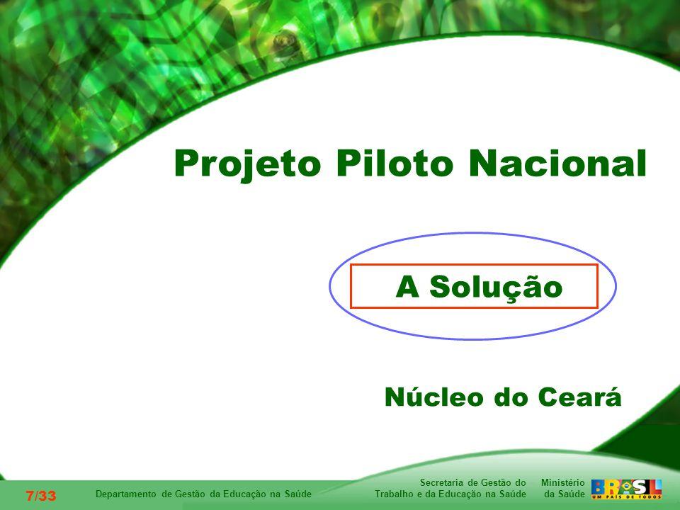 Ministério da Saúde Secretaria de Gestão do Trabalho e da Educação na Saúde Departamento de Gestão da Educação na Saúde 7/33 A Solução Núcleo do Ceará Projeto Piloto Nacional
