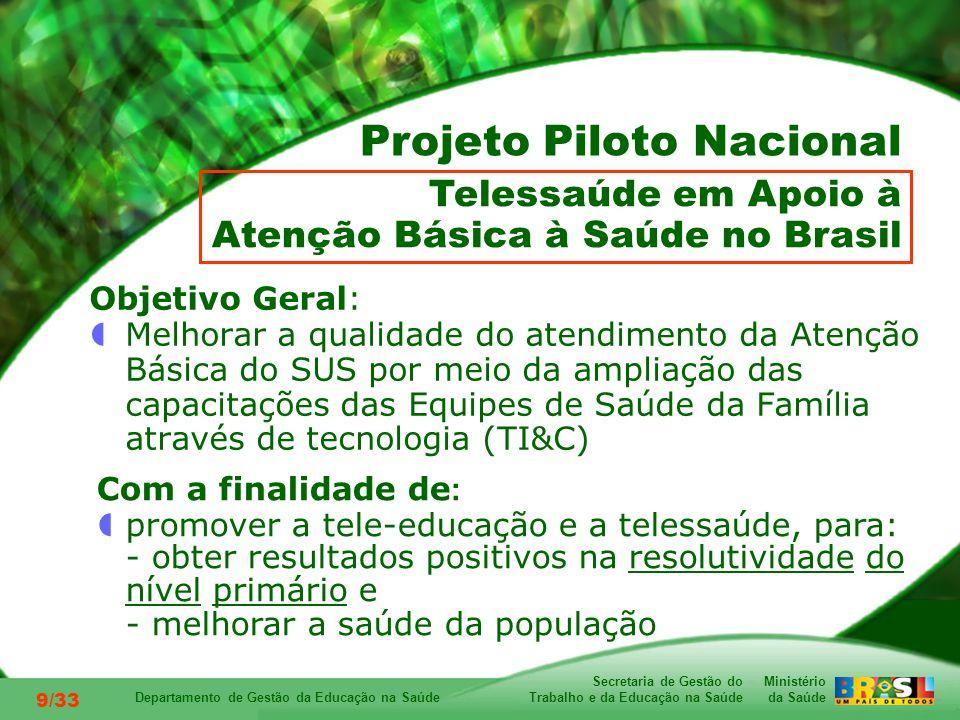 Ministério da Saúde Secretaria de Gestão do Trabalho e da Educação na Saúde Departamento de Gestão da Educação na Saúde 9/33 Objetivo Geral: Melhorar a qualidade do atendimento da Atenção Básica do SUS por meio da ampliação das capacitações das Equipes de Saúde da Família através de tecnologia (TI&C) Telessaúde em Apoio à Atenção Básica à Saúde no Brasil Projeto Piloto Nacional Com a finalidade de : promover a tele-educação e a telessaúde, para: - obter resultados positivos na resolutividade do nível primário e - melhorar a saúde da população