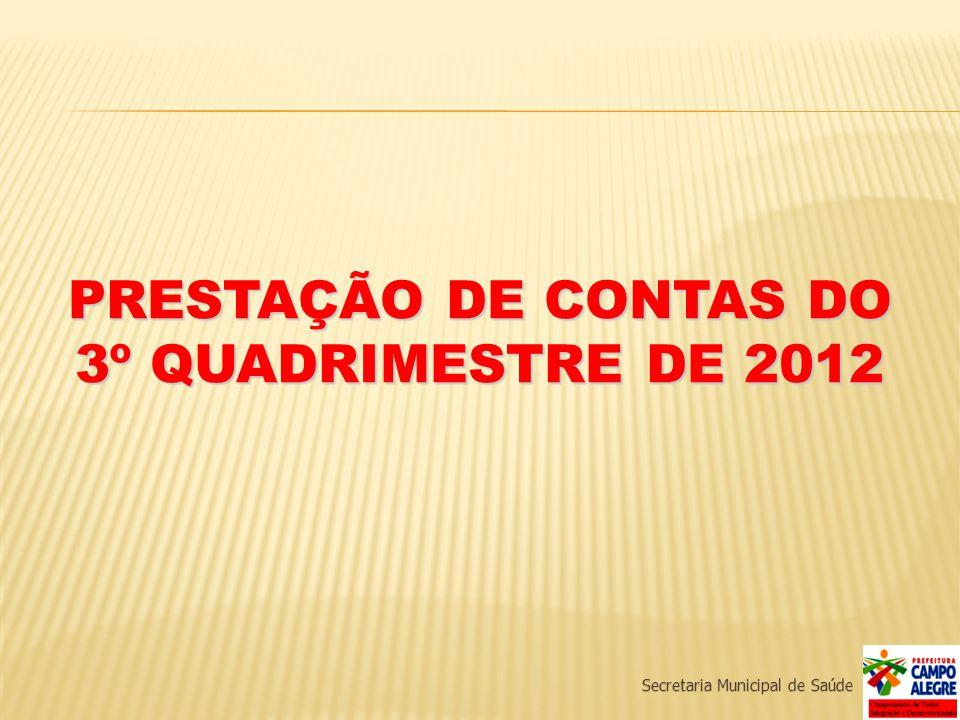 PRESTAÇÃO DE CONTAS DO 3º QUADRIMESTRE DE 2012 Secretaria Municipal de Saúde