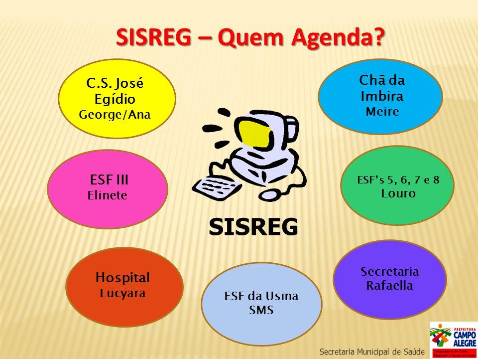 Secretaria Municipal de Saúde SISREG – Quem Agenda? SISREG ESF III Elinete C.S. José Egídio George/Ana Chã da Imbira Meire Hospital Lucyara ESFs 5, 6,