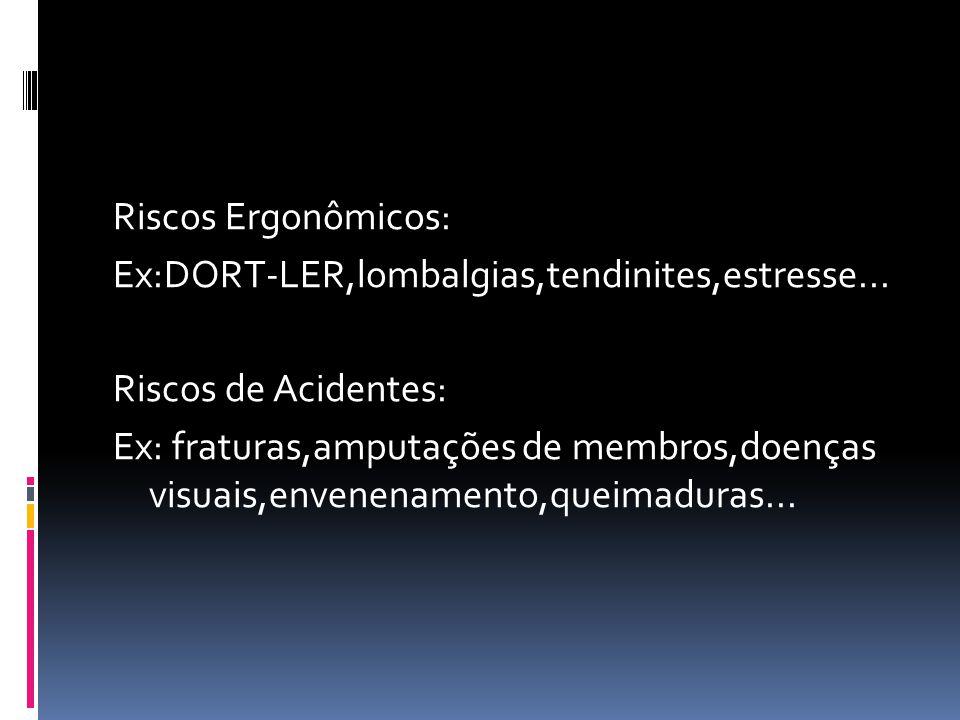 Riscos Ergonômicos: Ex:DORT-LER,lombalgias,tendinites,estresse... Riscos de Acidentes: Ex: fraturas,amputações de membros,doenças visuais,envenenament